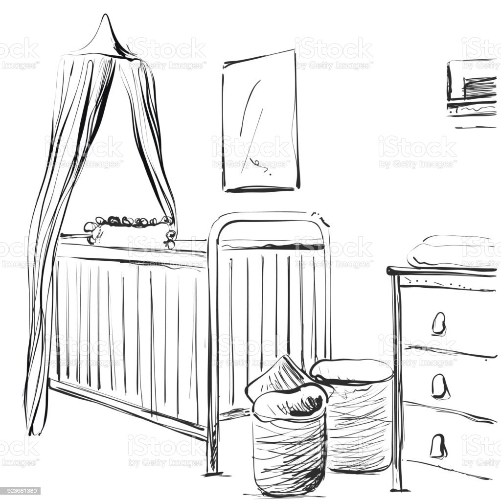 Hand drawn children room. Furniture sketch. Baby bed vector art illustration