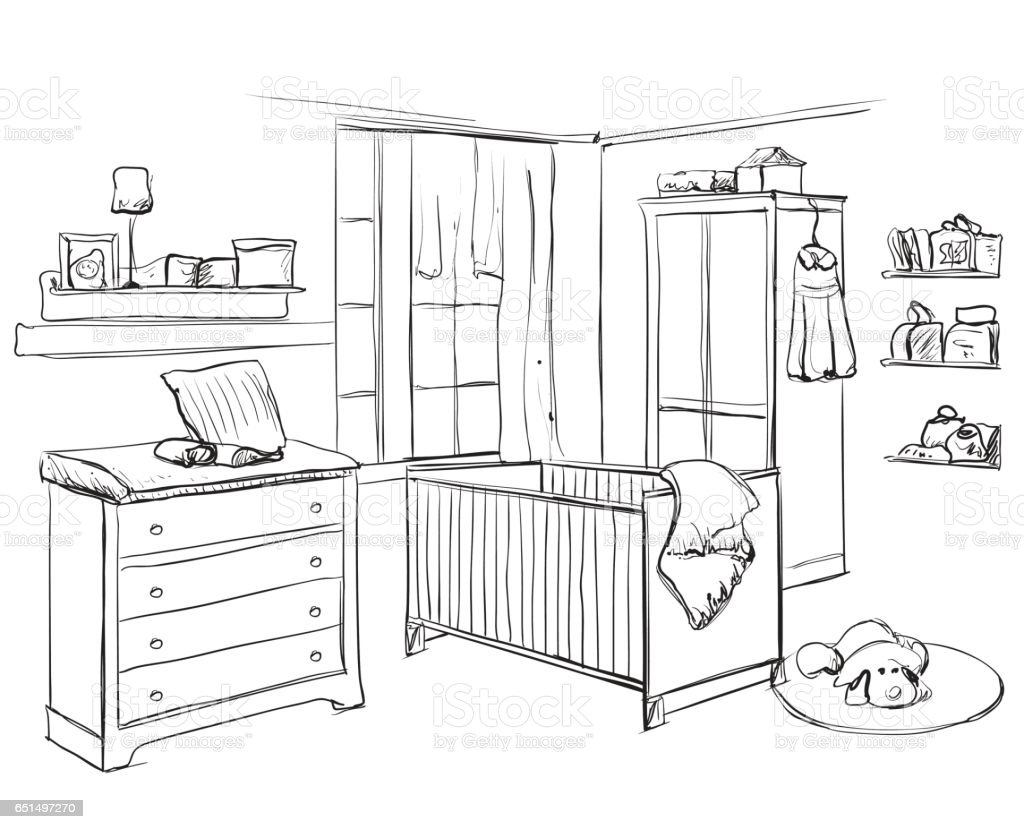 Dessin D Une Chambre D Enfant main sur chambre denfant croquis de meubles vecteurs libres