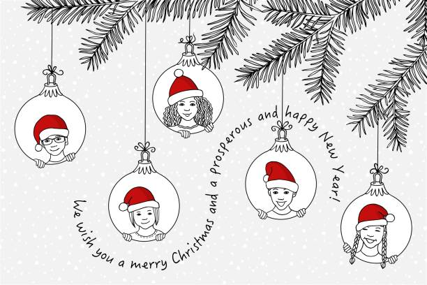 Hand drawn children's faces with santa hats as Xmas decoration vector art illustration