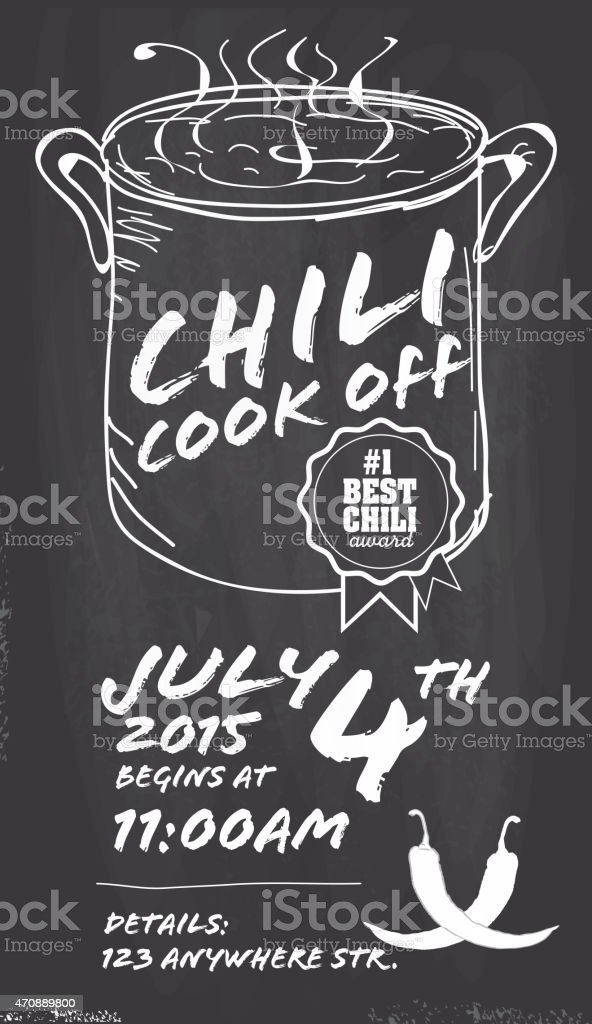 hand drawn chili cookoff invitation design template on chalkboard