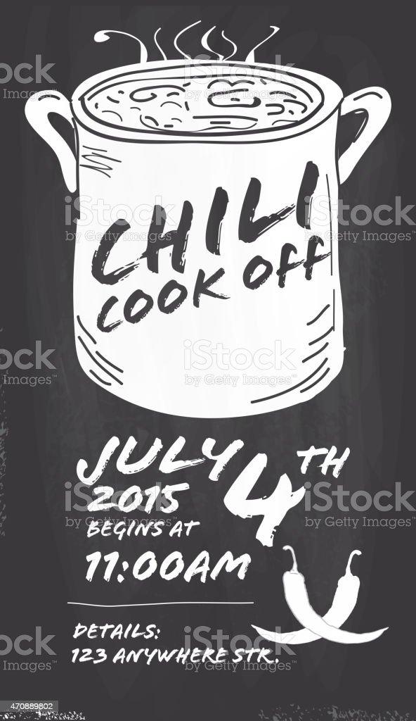 Hand Drawn Chili Cookoff Invitation Design Template On Chalkboard ...