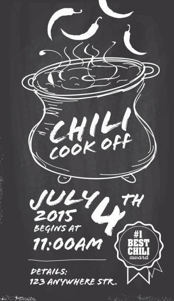 Hand drawn Chili cookoff invitation design template on chalkboard background Vector illustration of a Hand drawn Chili Cookoff invitation design template. Black and white. Includes black and white themes with simmering large crock pot . Chalkboard background Perfect for white background design for picnic invitation design template, summer barbecue event, picnic celebration, backyard bbq, private or corporate party, birthday party, fun family event gathering, potluck supper. cooking competition stock illustrations