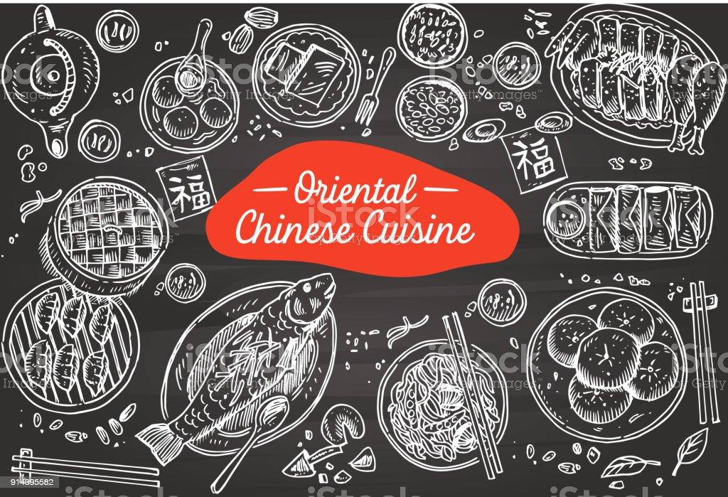 Comida chinesa mão desenhada num quadro negro, ilustração vetorial - Vetor de Arte royalty-free