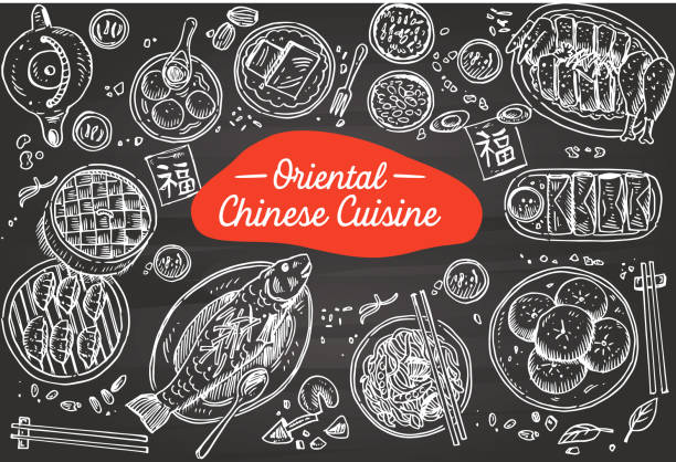 hand drawn chinese food on a chalkboard, vector illustration - chinese food stock illustrations, clip art, cartoons, & icons