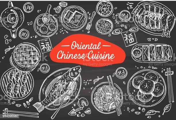 Vetores de Comida Chinesa Mão Desenhada Num Quadro Negro Ilustração Vetorial e mais imagens de Arte
