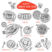 istock Hand drawn Chinese Food, Vector Illustration 912447080