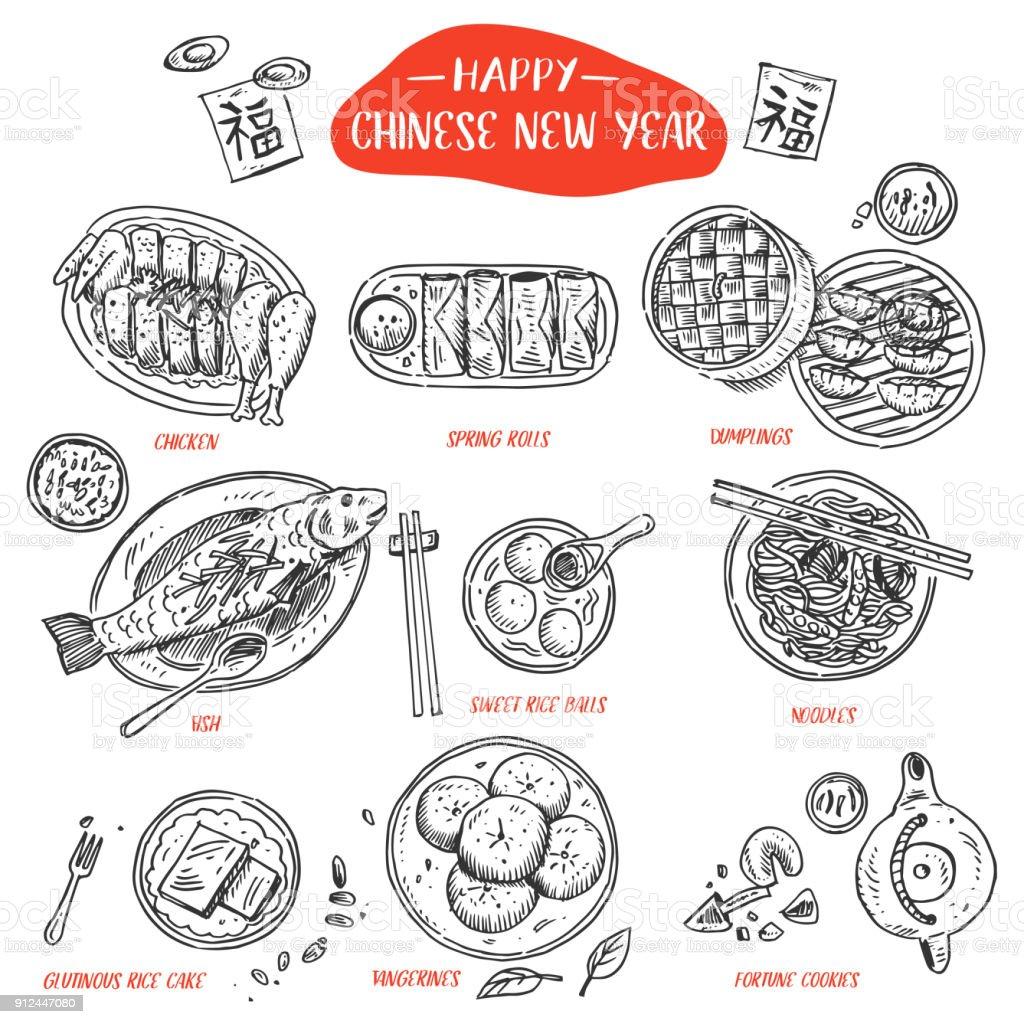 Comida China dibujado a mano, ilustración vectorial - ilustración de arte vectorial