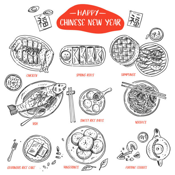 hand drawn chinese food, vector illustration - chinese food stock illustrations, clip art, cartoons, & icons