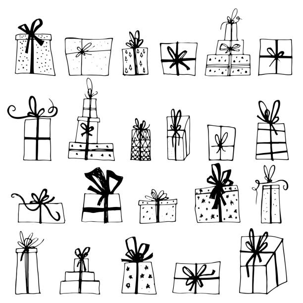 Hand drawn Chistmas gift boxes isolated on white background. Merry Christmas Happy new year for flyer, poster, banner, web, header. Xmas design. Hand drawn Chistmas gift boxes isolated on white background. Merry Christmas Happy new year for flyer, poster, banner, web, header. Xmas design. christmas drawings stock illustrations