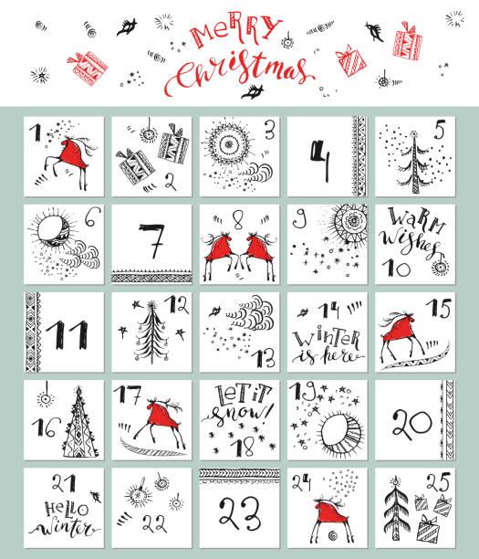 bildbanksillustrationer, clip art samt tecknat material och ikoner med hand dras jul julkalender - älg sverige