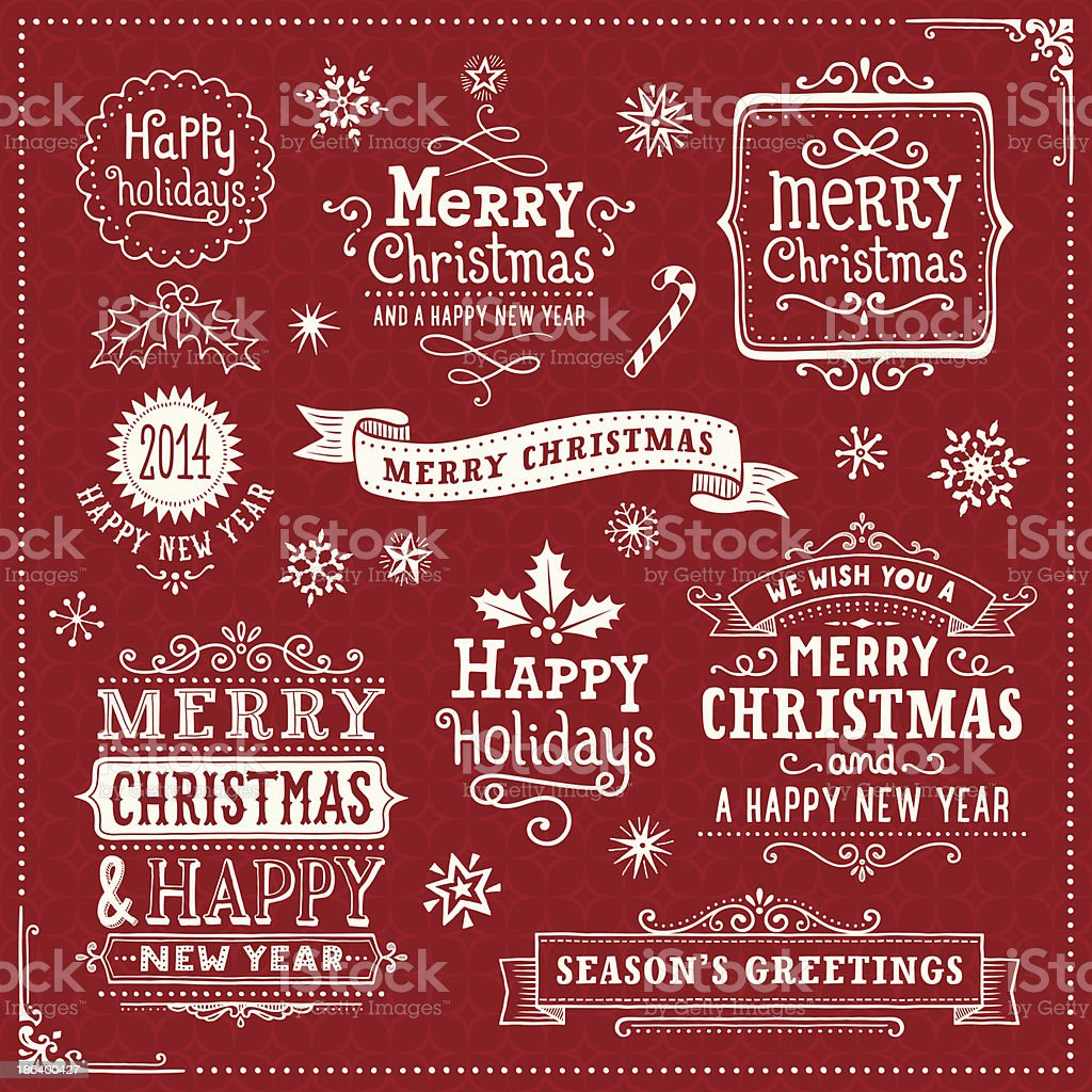 Hand Drawn Christmas Banners and Labels royalty-free hand drawn christmas banners and labels stock vector art & more images of calligraphy