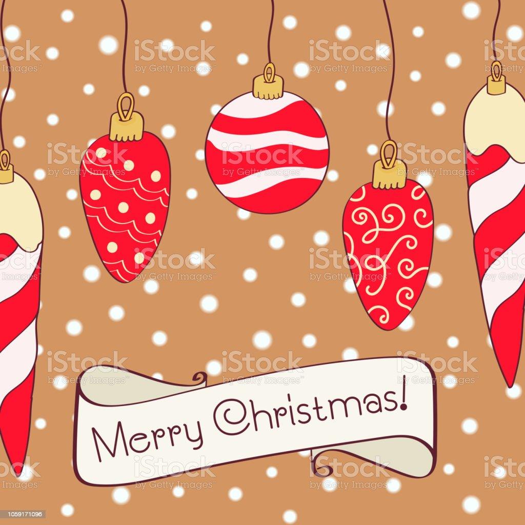 Weihnachtskarten Einladung.Hand Gezeichnet Weihnachtskarte Frohe Weihnachten Und Neujahr