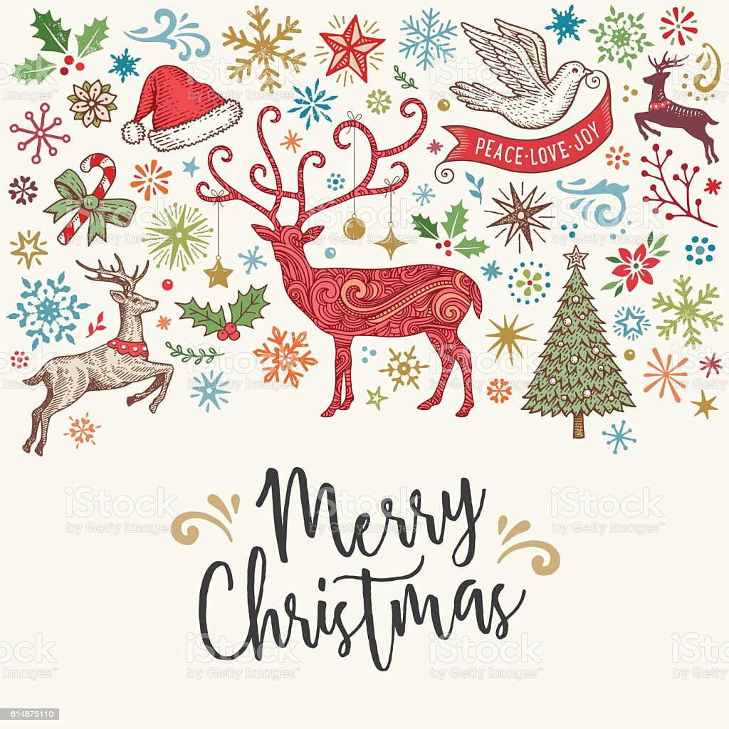 Hand Drawn Christmas Card with Reindeer vector art illustration