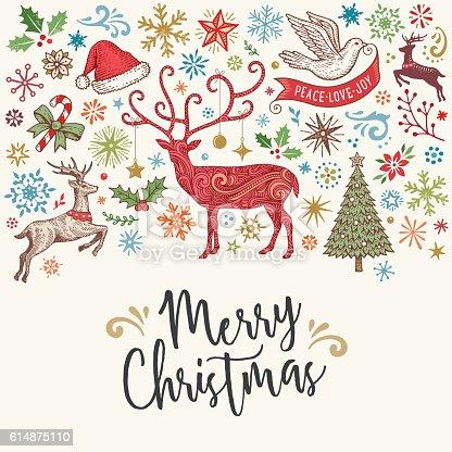 Hand Drawn Christmas Card With Reindeer stock vector art ...