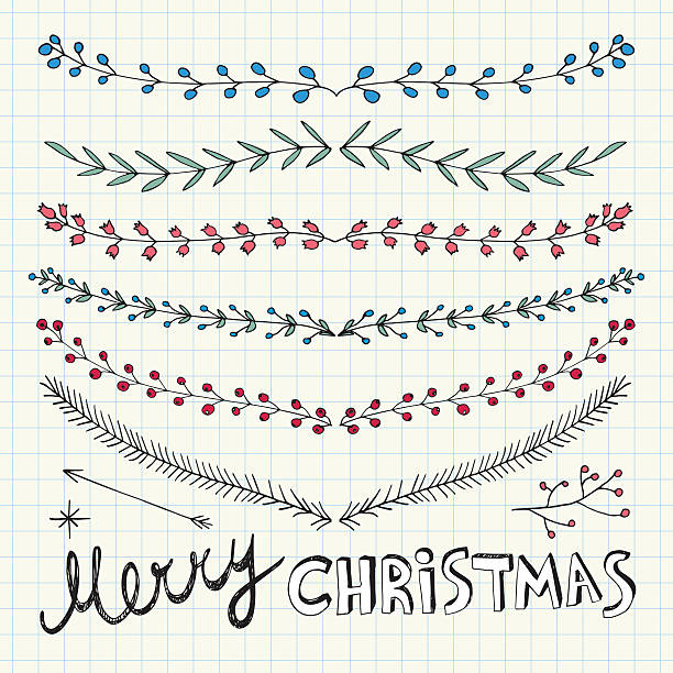 hand drawn christmas decorative elements, doodles and borders - いたずら書き/手書きのフレーム点のイラスト素材/クリップアート素材/マンガ素材/アイコン素材