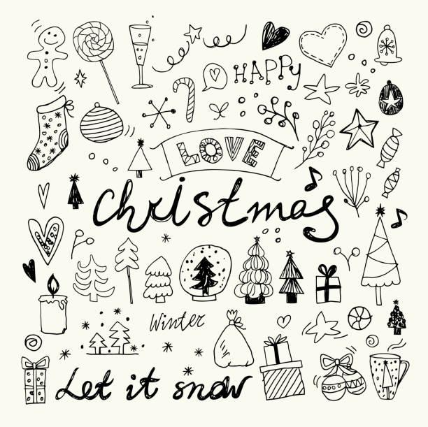 手描きクリスマス落書きコレクション - いたずら書き/手書きのフレーム点のイラスト素材/クリップアート素材/マンガ素材/アイコン素材