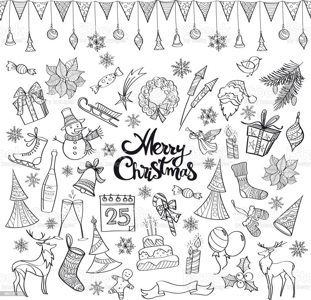 Hand drawn christmas doodles vector art illustration