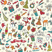 """Set of colored vector illustration icon doodles, with lettering """"merry christmas"""" and """"happy new year"""" arranged in a seamless pattern."""