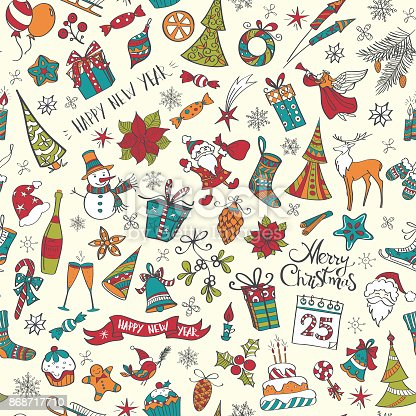 istock Hand drawn christmas elements seamless pattern colored 868717710