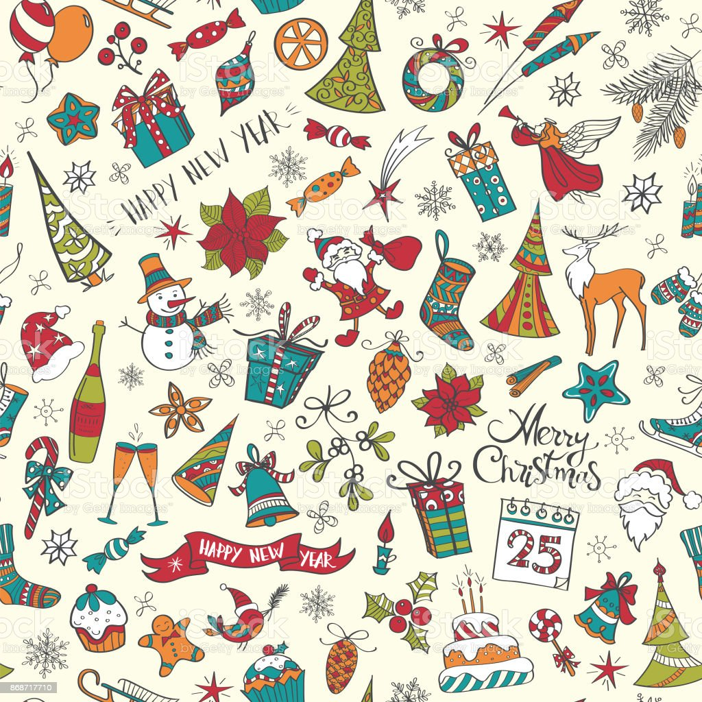 Hand drawn christmas elements seamless pattern colored vector art illustration