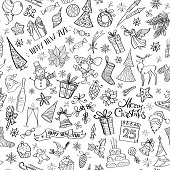 istock Hand drawn christmas elements seamless pattern 866321808