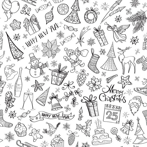 hand drawn christmas elements seamless pattern - birds calendar stock illustrations, clip art, cartoons, & icons