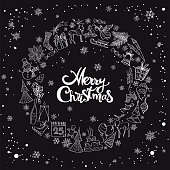 """Set of vector illustration icons in black and white showing various christmas elements, with lettering """"merry christmas"""" in the middle."""