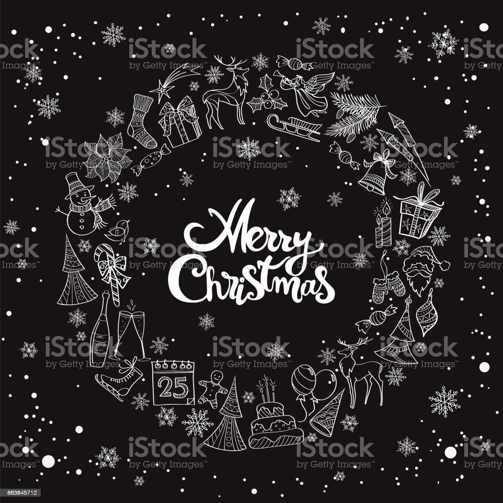 Hand drawn christmas elements wreath vector art illustration