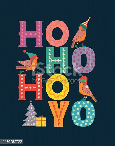 Christmas Holiday decoration. Cute winter bird in elf, red Santa hat, x-mas tree wreath. Fancy letters fun text Ho-Ho-Ho colorful cartoon. Template for New year season event banner, greeting eve flyer