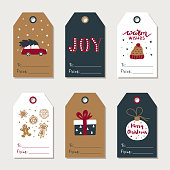 Hand drawn Christmas gift tags collection. Cute festive tag. Vector design template.