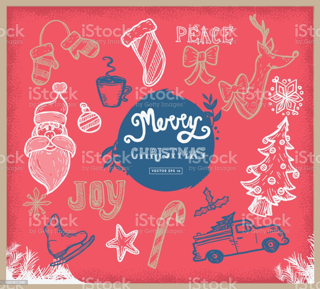 Hand Drawn Christmas Greeting Set Of Elements And Text Stock Vector