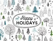 Modern, hand drawn evergreen trees holiday card.  AI10 file with uncropped shapes and hi res jpeg included. Scroll down to see more of my designs linked below.