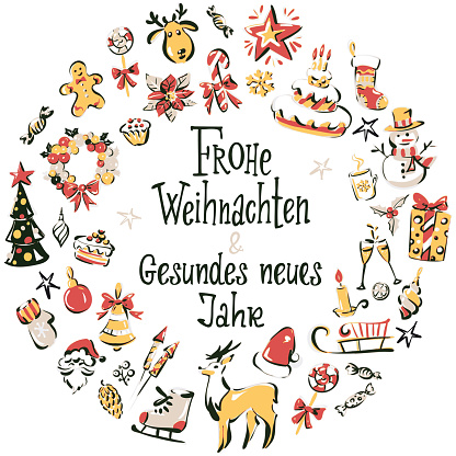 """Hand drawn christmas icons wreath with inscription """"Merry Christmas and a happy new year""""in German"""