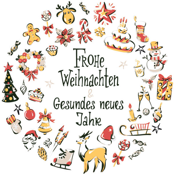"Hand drawn christmas icons wreath with inscription ""Merry Christmas and a happy new year"" in German Set of colored vector winter elements with lettering ""Frohe Weihnachten & gesundes neues Jahr"" in the middle. weihnachten stock illustrations"