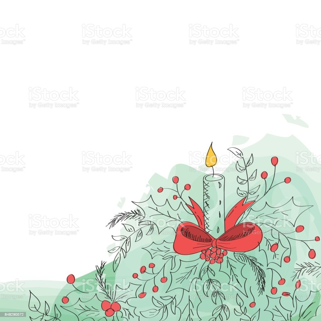 Hand drawn Christmas illustration with candle and mistletoe