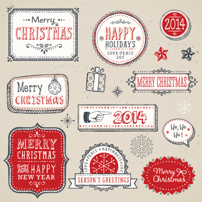 Hand Drawn Christmas Labels and Elements