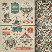 A set of hand drawn christmas labels & badges. EPS 10 file, with transparencies, layered & grouped,