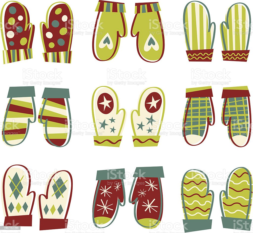 Hand Drawn Christmas Mittens royalty-free hand drawn christmas mittens stock vector art & more images of celebration event