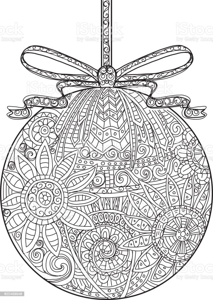 Hand Drawn Christmas Ornament With Ribbon Coloring Book Royalty Free