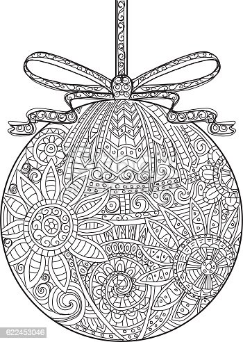 Hand Drawn Christmas Ornament With Ribbon Coloring Book Stock Vector Art More Images Of Black And White 622453046