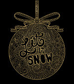 Vector illustration of a Hand drawn Christmas Ornament with ribbon golden tangle. Hand lettered Christmas greeting.