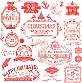 Hand Drawn Christmas Ornaments & Labels in Red