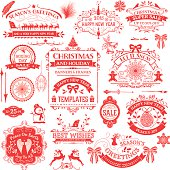 This is a picture of a flyer. This flyer has different topics. Some are about The themes are Christmas and Holiday, Happy New Year, Boxing day Sale. The background is white and the letters and drawings are in red. This is designed by a special computer software.