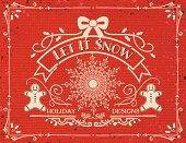 Hand Drawn Christmas Ornaments Template On Red Burlap