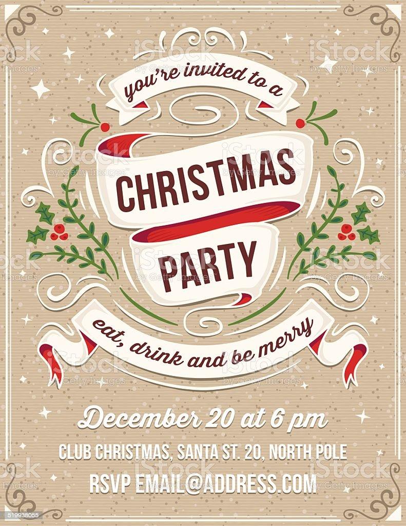 hand drawn christmas party invitation stock illustration