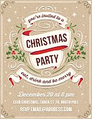 """Hand drawn christmas party invitation. Only solid fills used. No transparency. File format is EPS8. The white example text is on a separate layer for quick removal. The fonts are called """"Thirsty Script"""" and """"Bebas Neue""""."""