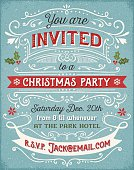 Hand drawn holiday party invitation with swirls, banners and elements.  EPS10 file contains transparencies.  Ai10 file, hi res jpeg included.  Scroll down to see more of my designs linked below.