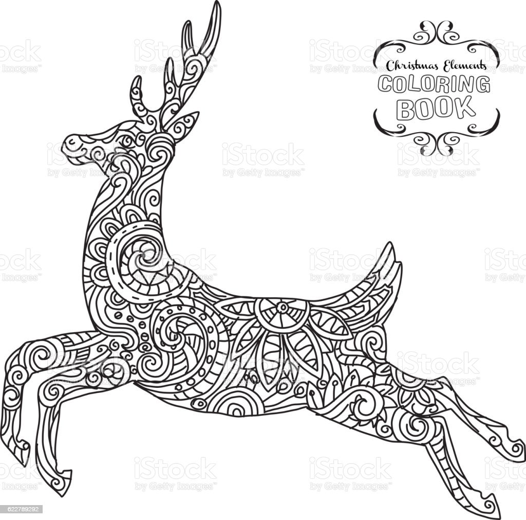 Hand Drawn Christmas Reindeer Ornament Coloring Book Tangle Royalty Free