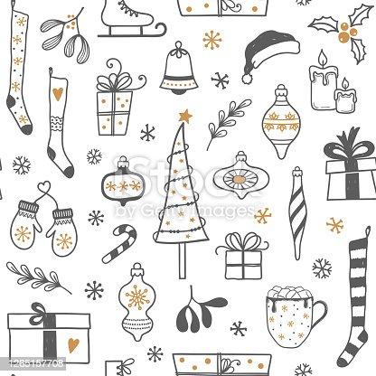 istock Hand drawn Christmas seamless background 1265157708