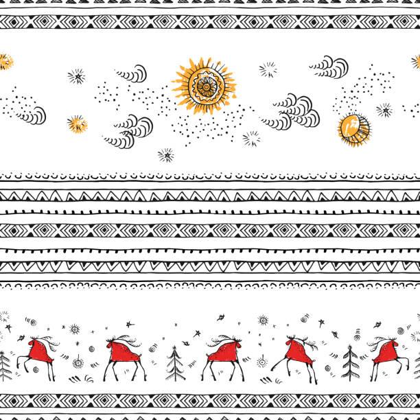 bildbanksillustrationer, clip art samt tecknat material och ikoner med handritad jul sömlösa mönster - älg sverige